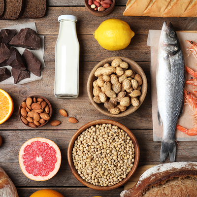 Selection of foods that can cause an allergy or intolerance