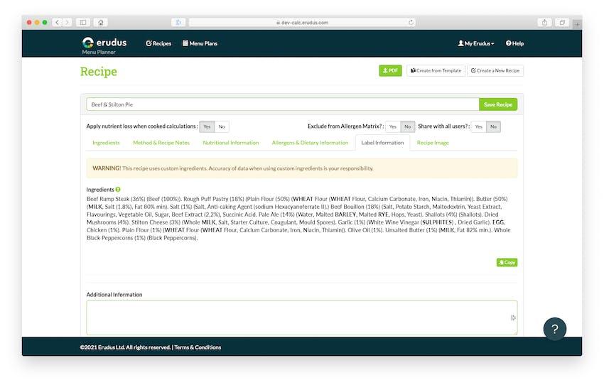 Erudus Recipe Builder Update - PPDS Labelling (QUID)