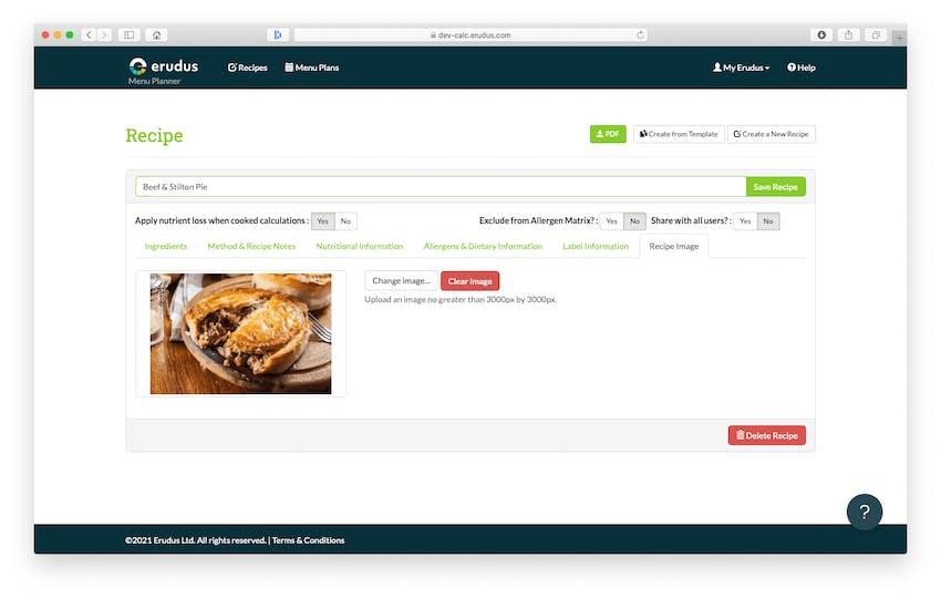 Updates to Erudus Recipe Builder - Recipe Imagery