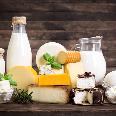 Milk Allergy Deep Dive - Selection of milk and dairy products