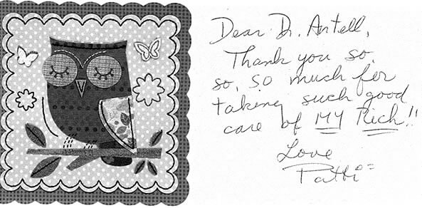Thank you note from patient - Patti