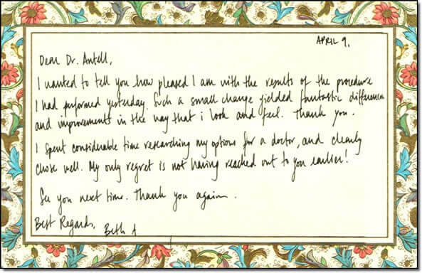 Thank you note from patient - Beth