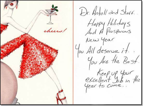 Happy holidays card from patient.