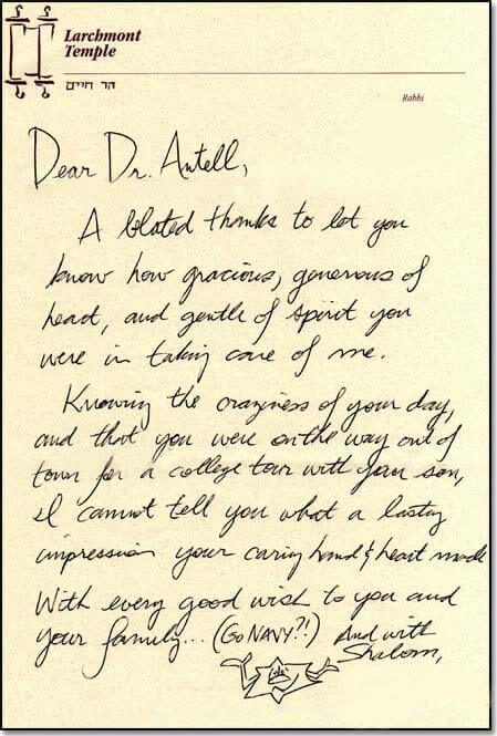 Thank you note from patient.