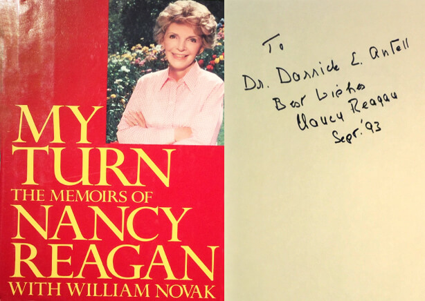 Nancy Reagan signed copy of My Turn to Dr. Antell.