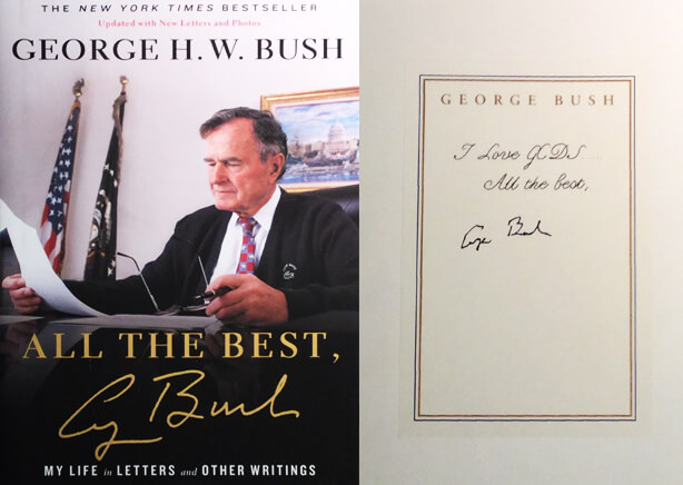 Personal note to Dr. Antell and signed copy in George H.W. Bush's book titled All the Best.