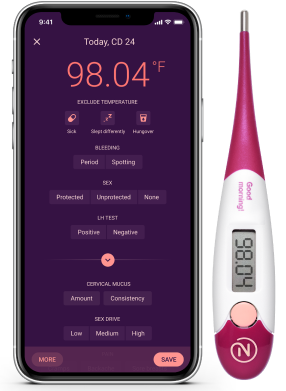 Natural cycles app with thermometer
