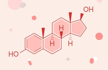 Diagram of the molecular structure of estrogen.