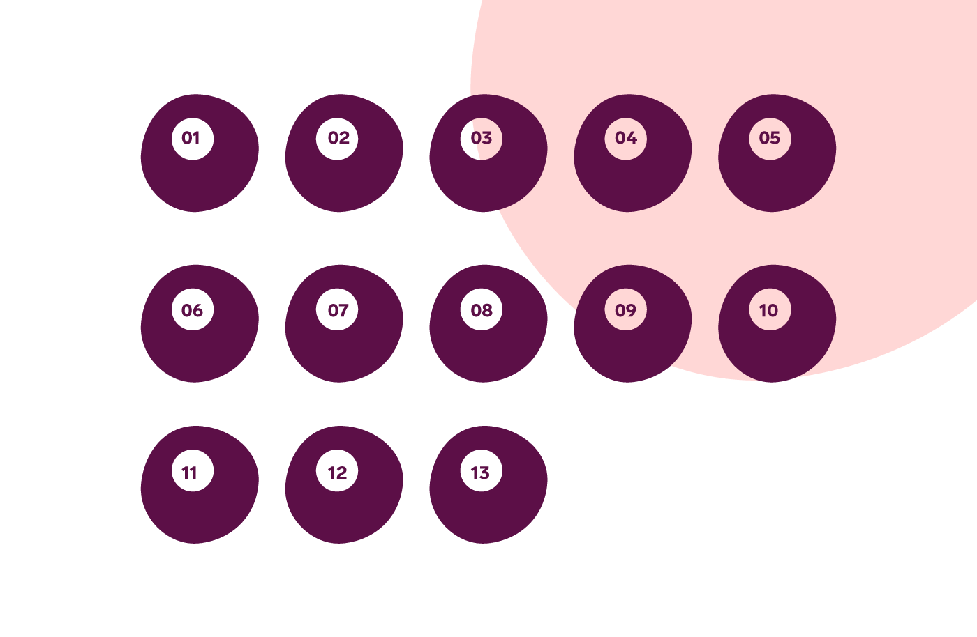 13 purple female egg cells on a pink and white background