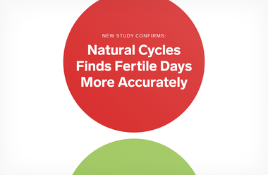 A red and a green circle with the text 'Natural Cycles finds fertile days more accurately'