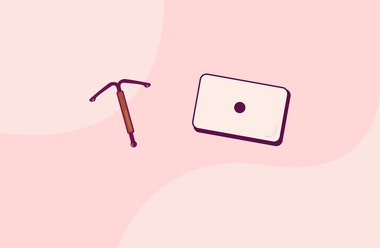 Illustration of an emergency birth control pill and a copper coil on a pink background