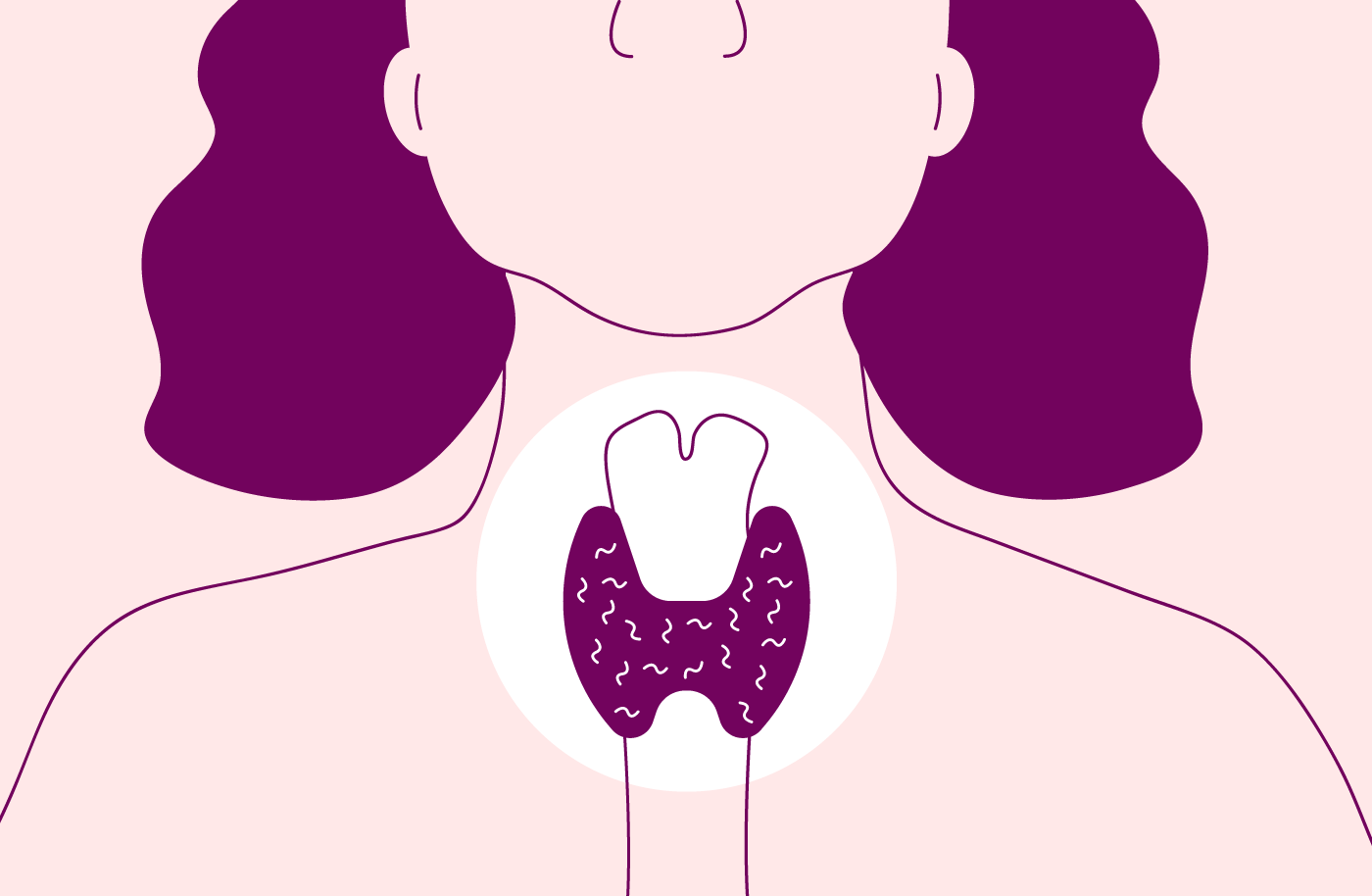 Illustration of the head and shoulders of a woman showing where the thyroid gland is in the centre of the throat