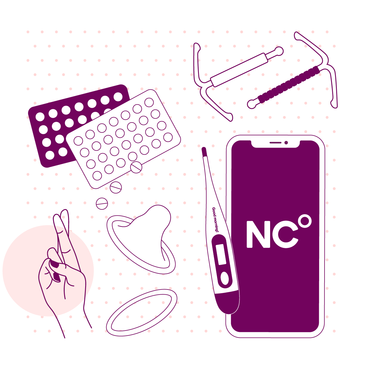 A top view of several birth control methods next to each other. Natural Cycles, Hormonal IUD, Copper IUD, a pack of contraceptive pills, a male condom, a NuvaRing and an representation of the pull out method.