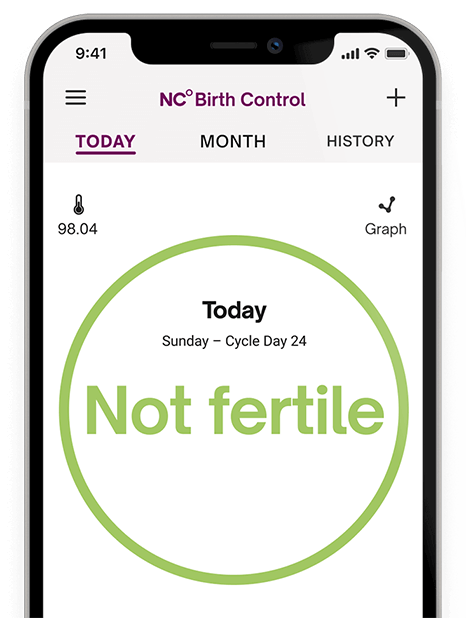 """Natural Cycles app with the fertility status """"not fertile"""""""