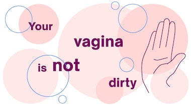 Illustration of a hand and bubbles with the words 'your vagina is not dirty'