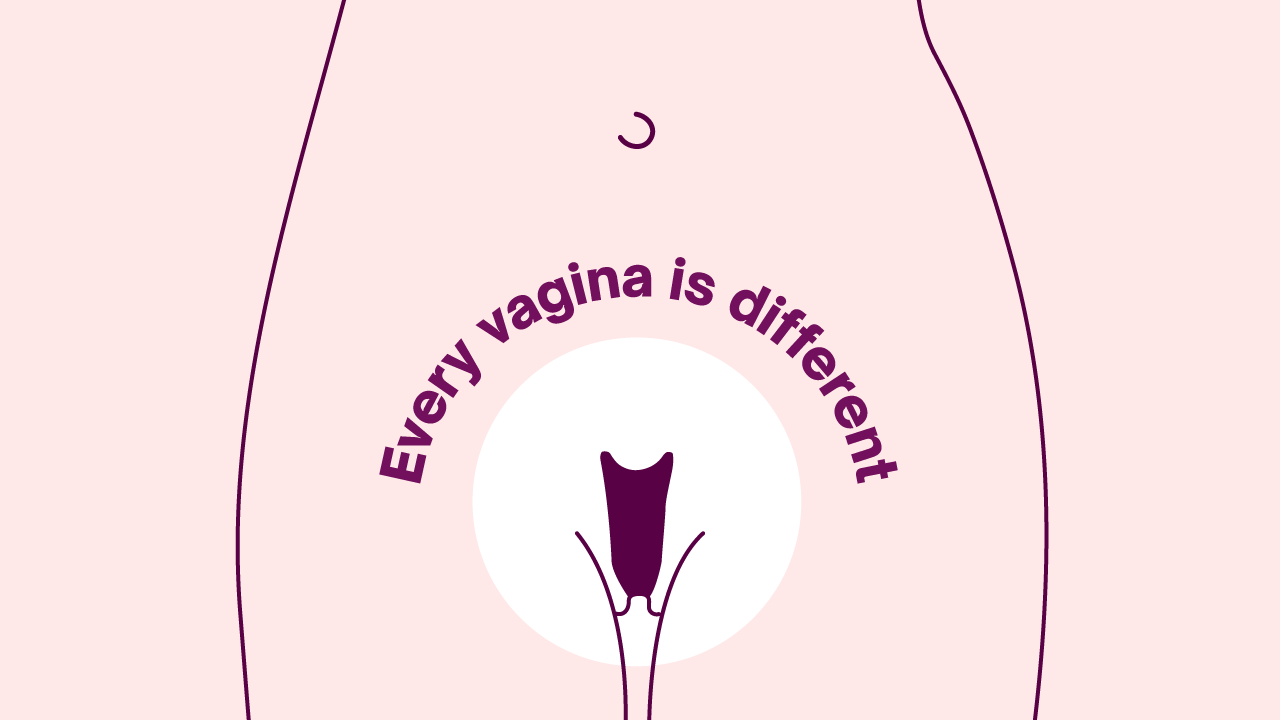 Illustration of vagina with text reading 'every vagina ius different'