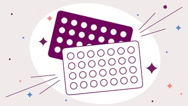 Birth control pill packets shown in illustration with sparkles surrounding them