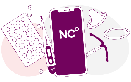 Illustration med olika preventivmedelsmetoder bl.a. p-piller, spiral, kondomer och Natural Cycles