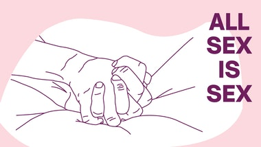 Illustration of two hands clasped together on bedsheets with the text 'All sex is sex'
