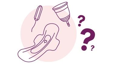 illustration of tampon, pad and menstrual cup with three question marks
