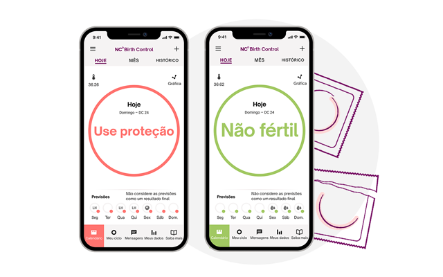 Dois telefones lado a lado com a tela de hoje do aplicativo Natural Cycles visível em cada um. O telefone à esquerda mostra um círculo vermelho e o texto