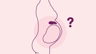 Silhoutte of pregnant woman with highlighted stomach and hanging questionmark