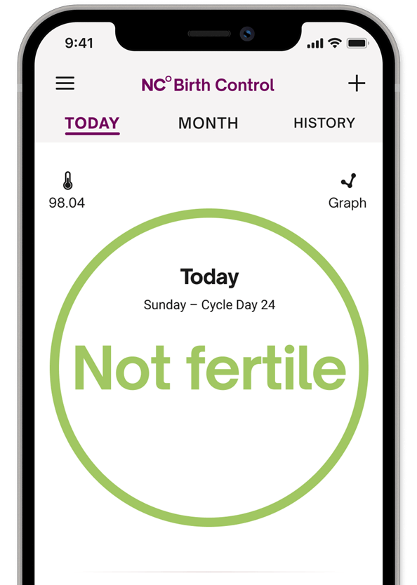 Natural Cycles app screen showing the fertility status for the day which reads Not Fertile.