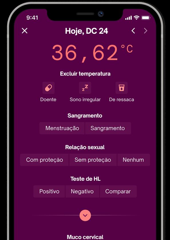 Página de registro de dados do aplicativo Natural Cycles