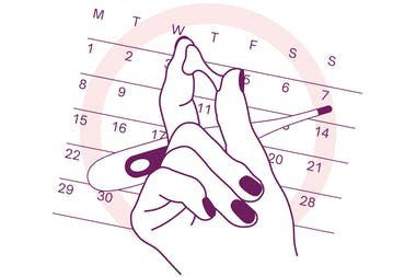 Illustration showing hand holding cervical mucus against the backdrop of a thermometer on a calendar