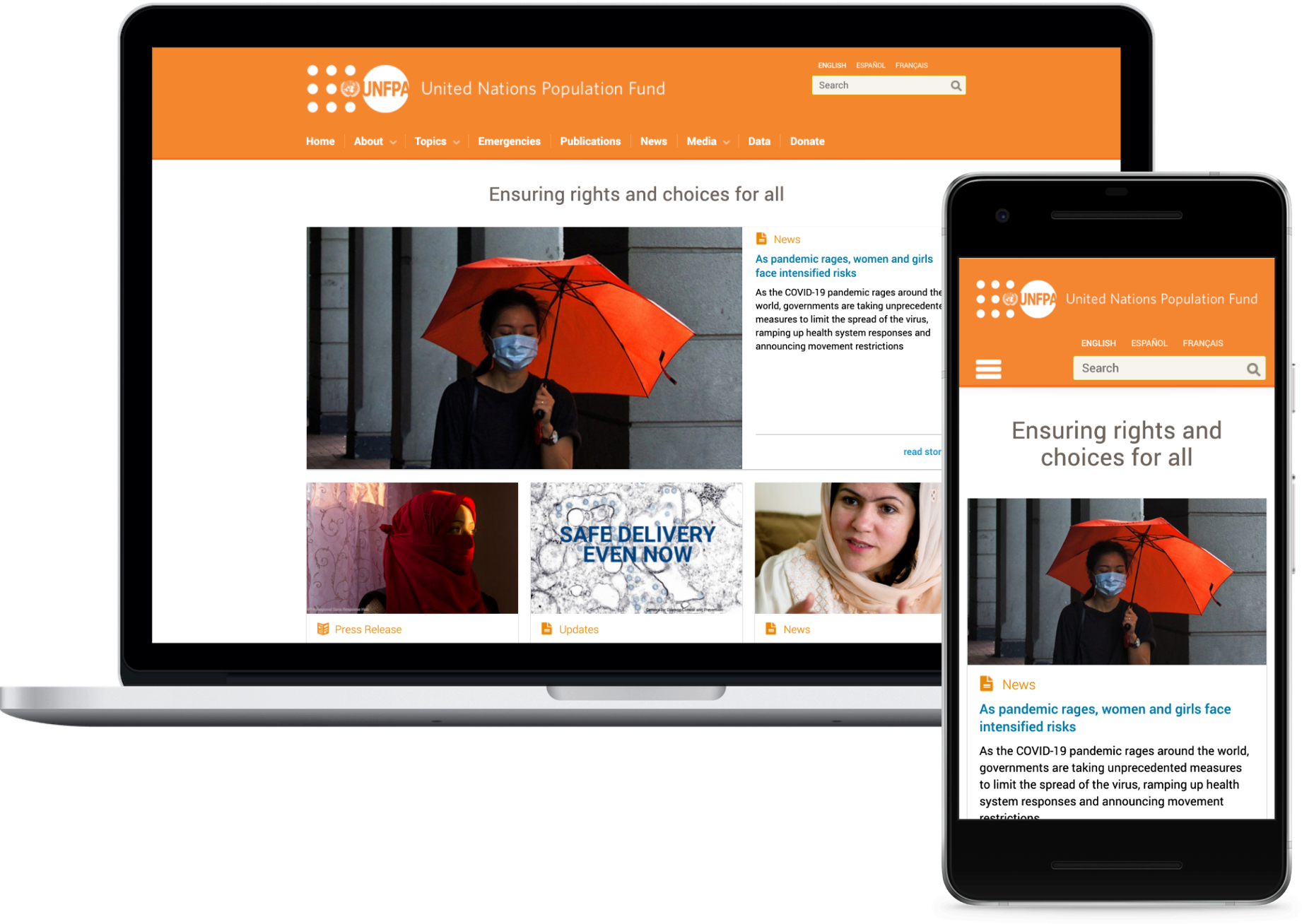 Current UNFPA homepage