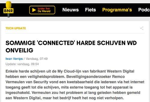 (Dutch) Sommige 'connected' harde schijven WD onveilig