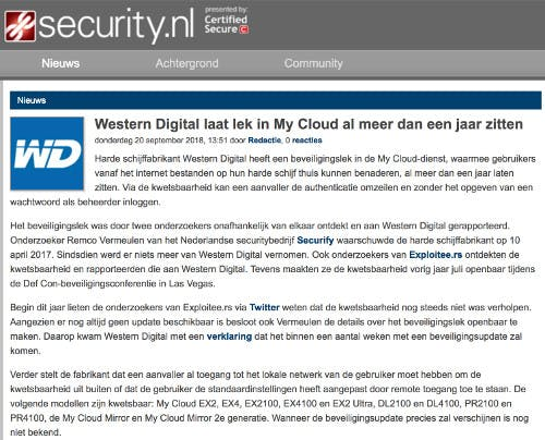(Dutch) Western Digital laat lek in My Cloud al meer dan een jaar zitten