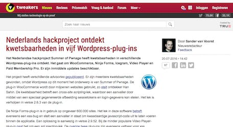 (Dutch) Nederlands hackproject ontdekt kwetsbaarheden in vijf WordPress-plug-ins