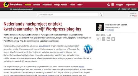 (Dutch) Nederlands hackproject ontdekt kwetsbaarheden in vijf WordPress-plug-ins