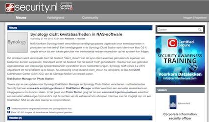(Dutch) Synology dicht kwetsbaarheden in NAS-software