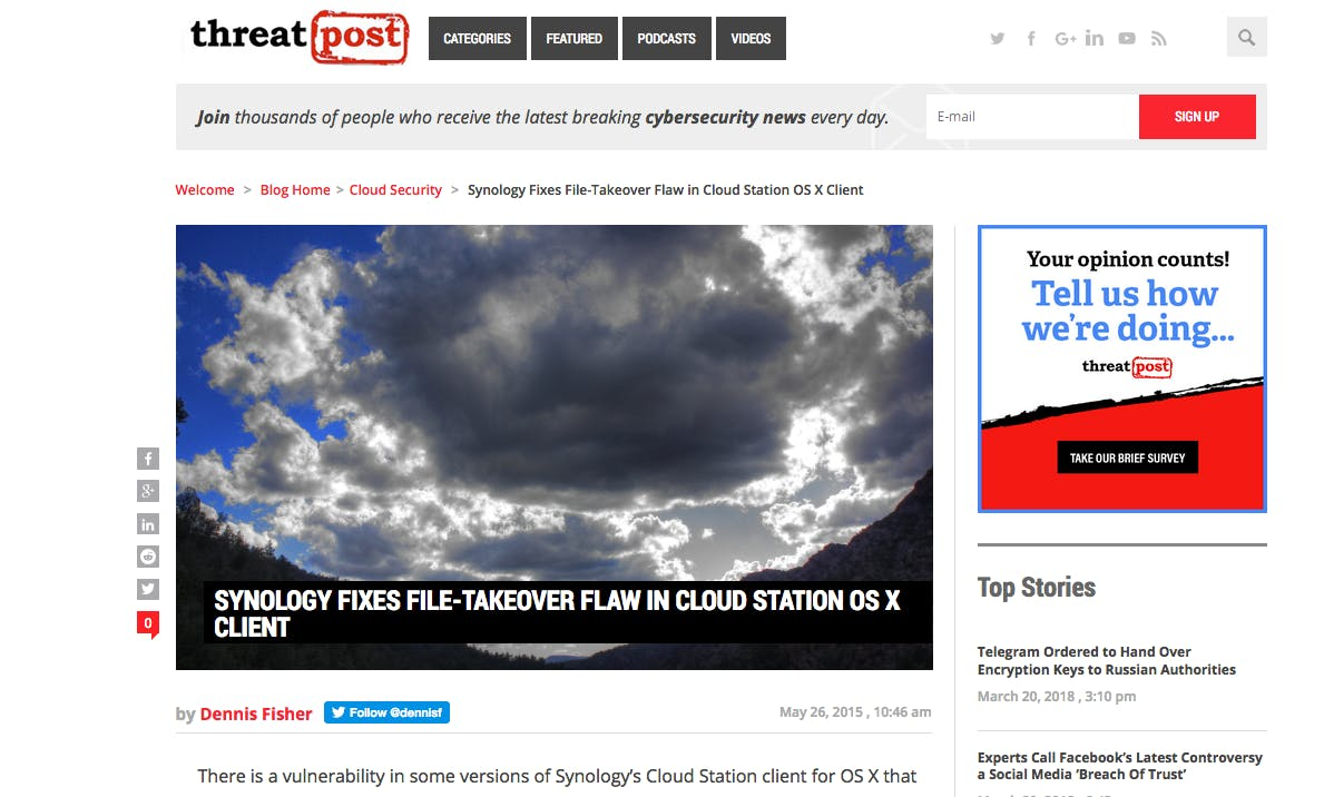 Synology fixes file-takeover flaw in Cloud Station OS X client