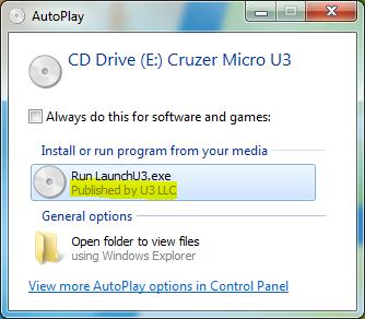 Figure 2: U3 LLC publisher shown in AutoPlay