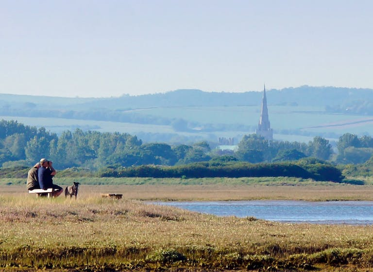 Image of Bird watchers looking out on Pagham Harbour with Chichester Cathedral in the background
