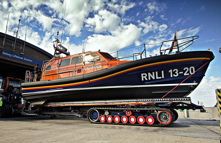 Selsey's shannon lifeboat outside RNLI Lifeboat station