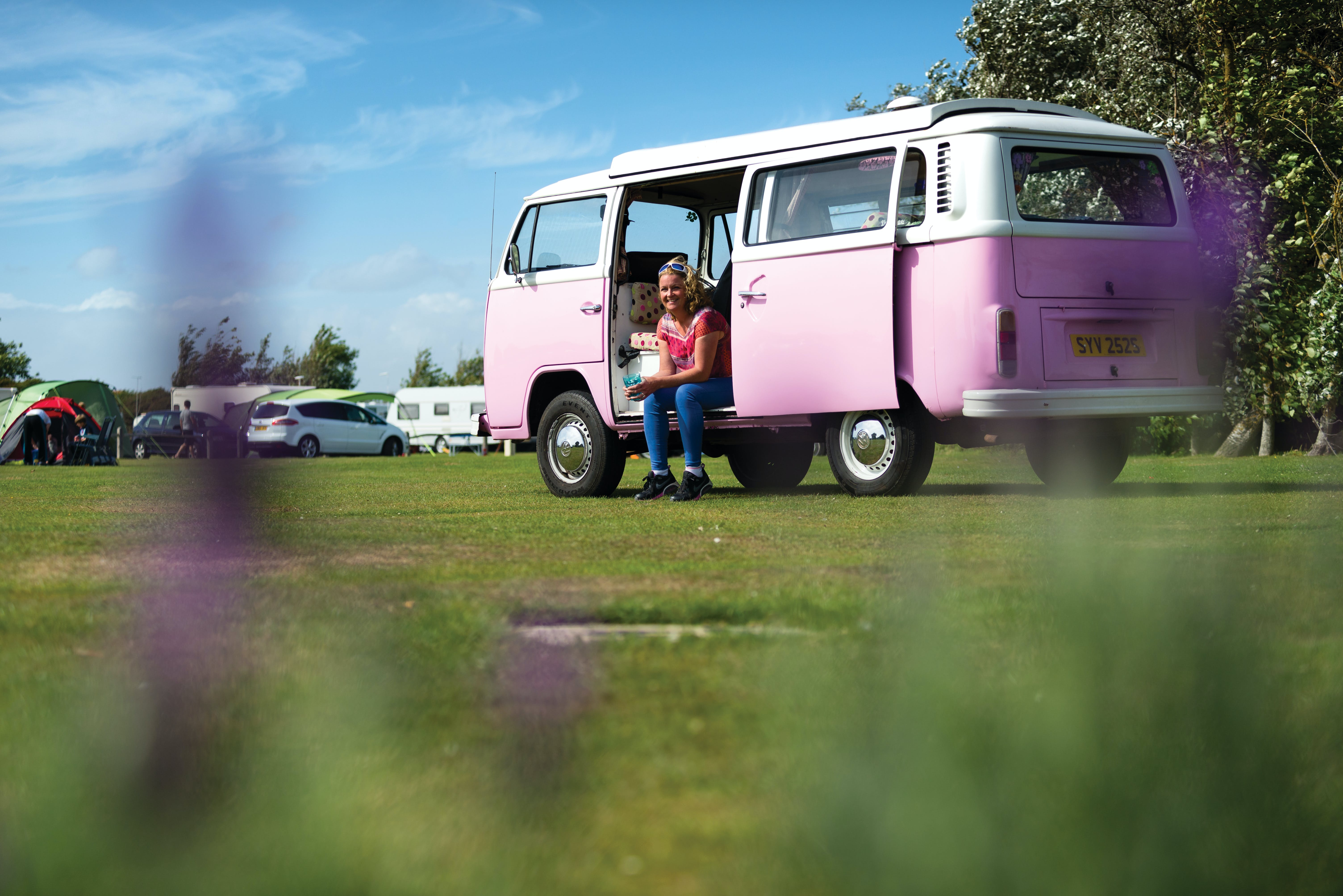 Image of a camper van in a field on a Warner Farm holiday
