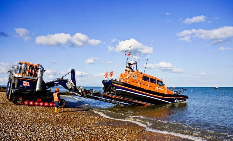 Launch of RNLI Selsey Lifeboat at East Beach