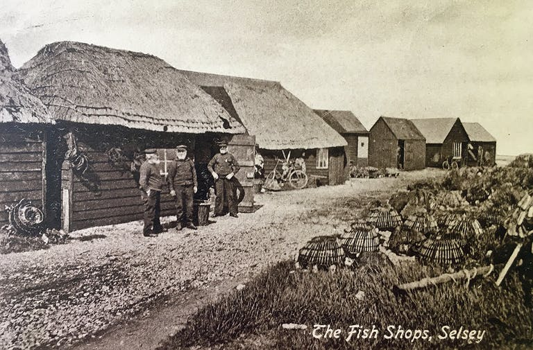 Three bearded Selsey Fishermen, outside their thatched fishing huts selling their produce.