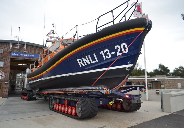 Shannon lifeboat outside Selsey Lifeboat Station