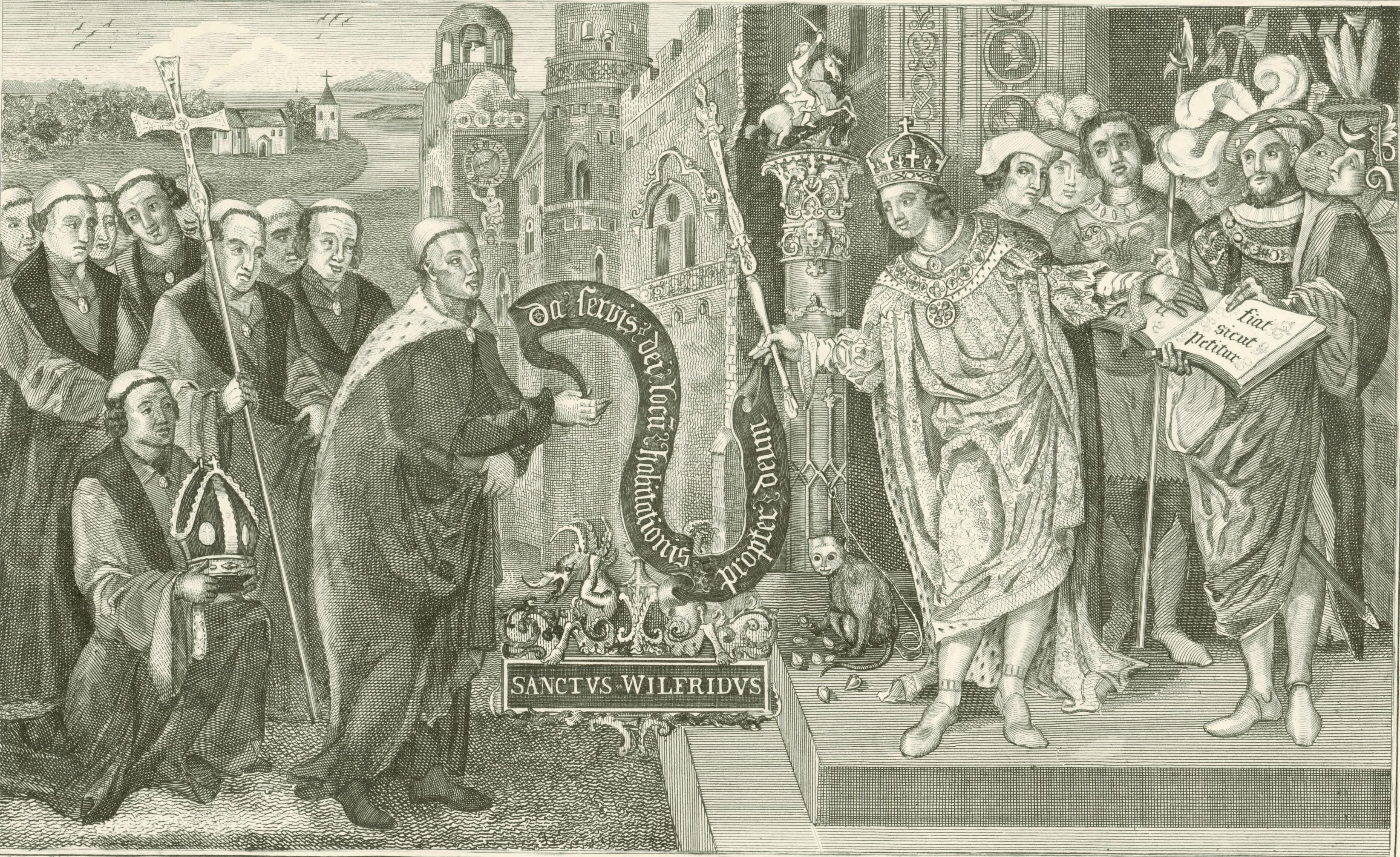 Drawing of King Caedwalla Granting Land at Selsey to St Wilfrid