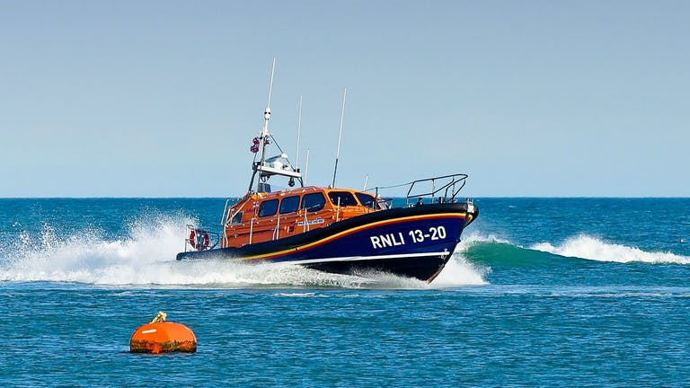 RNLI Selsey Lifeboat out on manoevre in the open sea