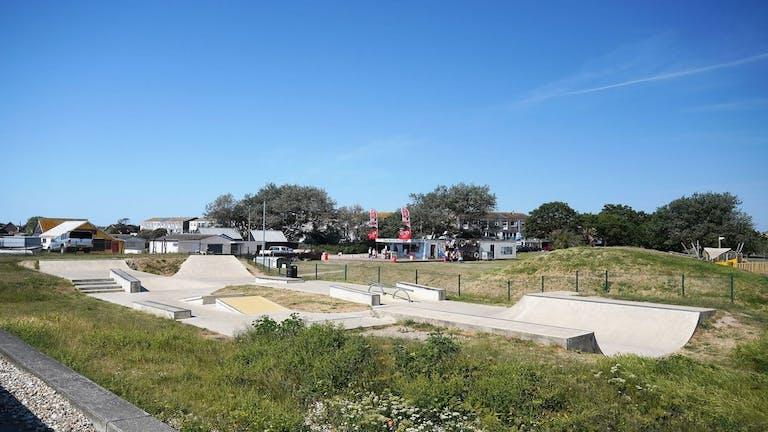 East Beach Skate Park and BMX Track with Grind Boxes and Angled Half Pipe