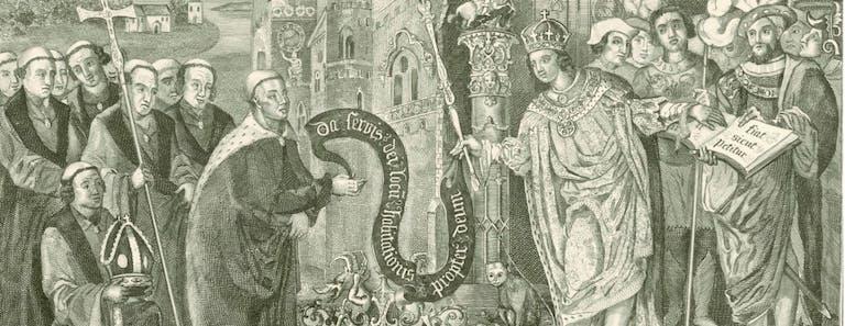 Illustration of King Caedwalla granting land