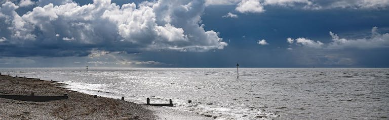 Grey sky with clouds gathering above Marine Beach