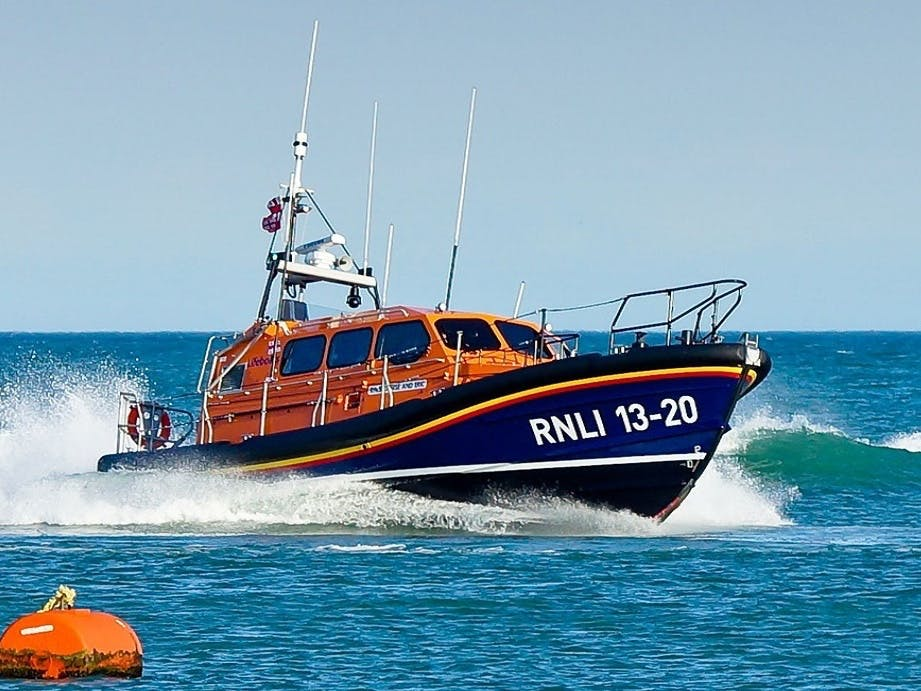 Lifeboat crashing through the waves at Selsey