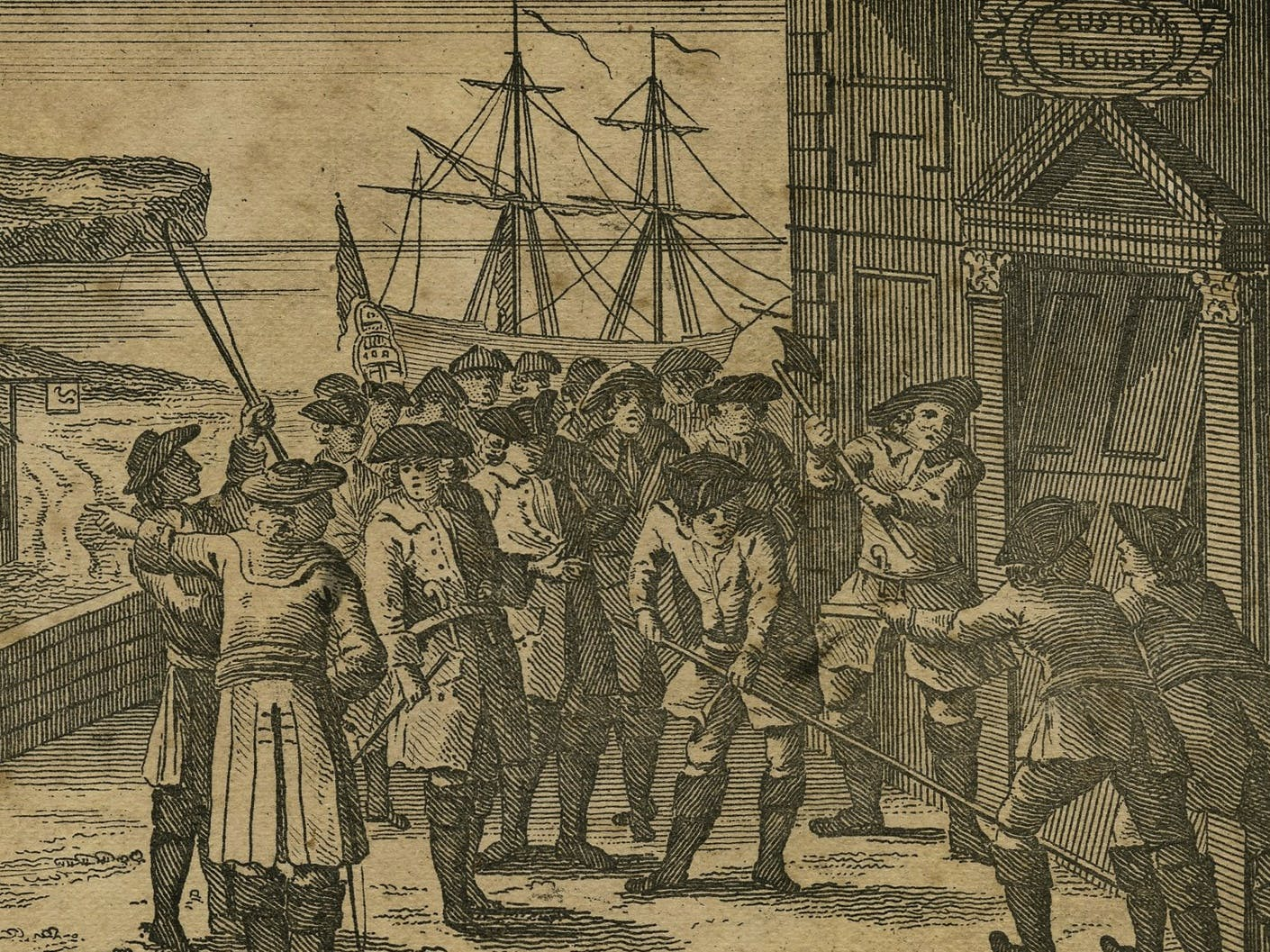 A representation of smuggler's breaking open ye King's Custom House at Poole, courtesy of Novium Museum